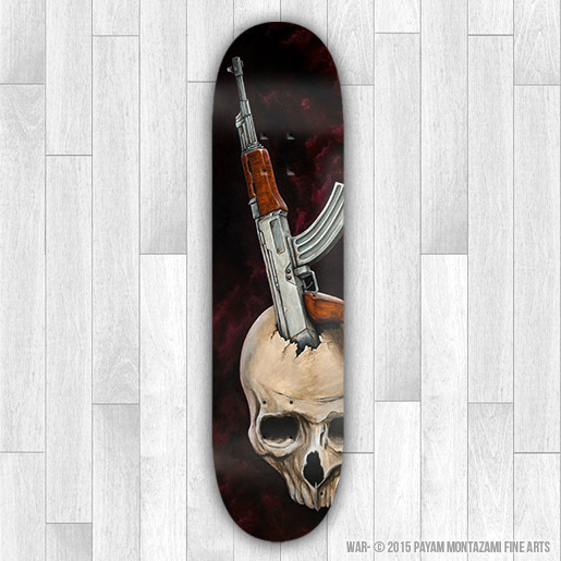 War Skateboard (Print) by Payam Montazami Fine Arts